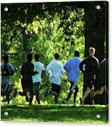Joggers In The Park Acrylic Print by Susan Savad