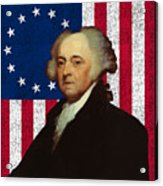 John Adams And The American Flag Acrylic Print by War Is Hell Store