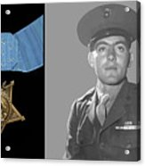 John Basilone And The Medal Of Honor Acrylic Print by War Is Hell Store