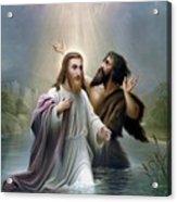 John The Baptist Baptizes Jesus Christ Acrylic Print by War Is Hell Store