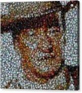 John Wayne Bottle Cap Mosaic Acrylic Print by Paul Van Scott