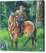 Juel Riding Chiggy-bump Acrylic Print by Dawn Senior-Trask