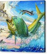 Jumping Mahi Mahi And Flyingfish Acrylic Print by Terry Fox