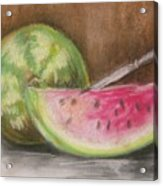Just Watermelon Acrylic Print by Leslie Manley