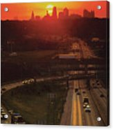 Kansas City I 70 Sunset Acrylic Print by Don Wolf