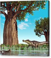 Kaprosuchus Crocodyliforms Acrylic Print by Walter Myers