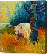Kindred Spirits - Kermode Spirit Bear Acrylic Print by Marion Rose