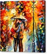 Kiss Under The Rain Acrylic Print by Leonid Afremov