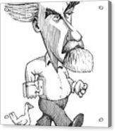 Konrad Lorenz, Caricature Acrylic Print by Gary Brown