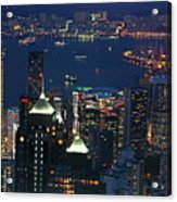 Kowloon Skyline And Victoria Harbour At Dusk Acrylic Print by Sami Sarkis