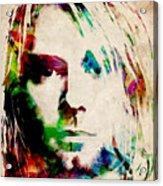 Kurt Cobain Urban Watercolor Acrylic Print by Michael Tompsett