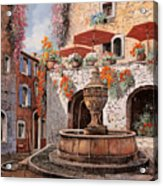 la fontana a St Paul de Vence Acrylic Print by Guido Borelli