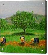 Ladies In Poppy Fields Ibiza Acrylic Print by Lizzy Forrester
