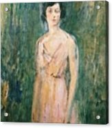 Lady In A Pink Dress Acrylic Print by Ambrose McEvoy