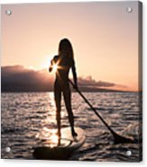 Lady Paddling Acrylic Print by Dave Fleetham - Printscapes