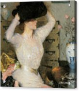 Lady Trying On A Hat Acrylic Print by Frank Weston Benson