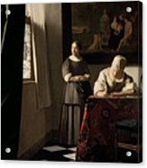 Lady Writing A Letter With Her Maid Acrylic Print by Jan Vermeer