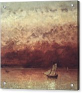 Lake Leman With Setting Sun Acrylic Print by Gustave Courbet