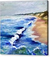 Lake Michigan Beach With Whitecaps Acrylic Print by Michelle Calkins