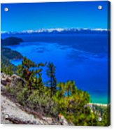Lake Tahoe From Flume Trail Over Sand Harbor State Park Acrylic Print by Scott McGuire