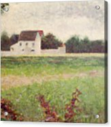 Landscape In The Ile De France Acrylic Print by Georges Pierre Seurat