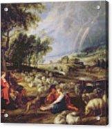 Landscape With A Rainbow Acrylic Print by Rubens