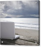 Laptop Computer At Beach Acrylic Print by Dave & Les Jacobs