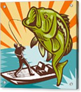 Largemouth Bass Fish And Fly Fisherman Acrylic Print by Aloysius Patrimonio