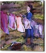 Laundry Day Acrylic Print by Carolyn Doe