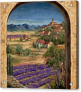 Lavender Fields And Village Of Provence Acrylic Print by Marilyn Dunlap