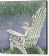 Lawn Chair By The Lake Acrylic Print by Arline Wagner