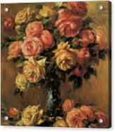 Les Roses Dans Un Vase Acrylic Print by Pierre-Auguste Renoir