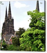 Lichfield Cathedral From Minster Pool Acrylic Print by Rod Johnson