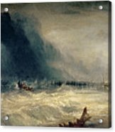 Lifeboat And Manby Apparatus Going Off To A Stranded Vessel Making Signal Of Distress Acrylic Print by Joseph Mallord William Turner