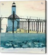 Lighthouse In Michigan City Acrylic Print by Lynn Babineau