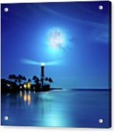 Lighthouse Moon Acrylic Print by Mark Andrew Thomas
