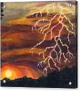 Lightning At Sunset Acrylic Print by Tanna Lee M Wells