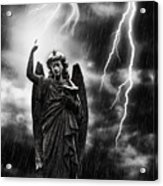 Lightning Strikes The Angel Gabriel Acrylic Print by Amanda And Christopher Elwell