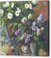 Lilacs And Asters Acrylic Print by Tigran Ghulyan