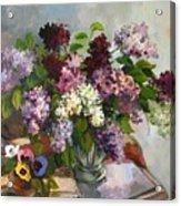 Lilacs And Pansies Acrylic Print by Tigran Ghulyan