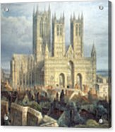 Lincoln Cathedral From The North West Acrylic Print by Frederick Mackenzie