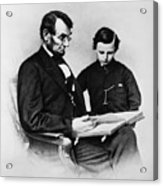 Lincoln Reading To His Son Acrylic Print by Photo Researchers