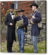 Lincoln With Officers 2 Acrylic Print by Ray Downing