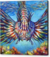 Lion Fish Acrylic Print by Nancy Tilles