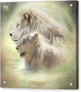 Lion Moon Acrylic Print by Carol Cavalaris