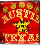 Live Music Mural Of Austin Acrylic Print by Andrew Nourse