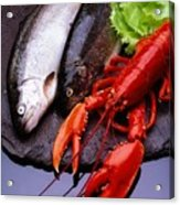 Lobster And Trout Acrylic Print by The Irish Image Collection