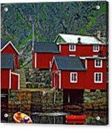 Lofoten Fishing Huts Oil Acrylic Print by Steve Harrington