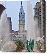 Logan Circle Fountain With City Hall In Backround 4 Acrylic Print by Bill Cannon