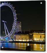 London Eye At Night Acrylic Print by Clarence Holmes